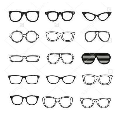 دانلود طرح وکتور انواع عینک - طرح خطی
