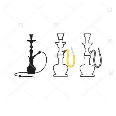طرح وکتور قلیان سنتی - عربی - بصورت خطی