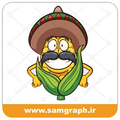 دانلود وکتور و طرح مرد مکزیکی ذرت مکزیکی پاپ کورن کاپ کورن cupcorn corn popcorn