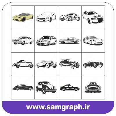 دانلود پک طرح وکتور انواع ماشینهای قدیمی و جدید - Download vector design pack of old and new cars