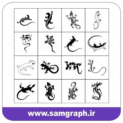 دانلود طرح وکتور پک انواع مارمولک ها گرافیکی - DOWNLOAD Graphic lizards VECTOR