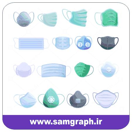دانلود طرح وکتور انواع ماسک - Download vector design of different types of masks