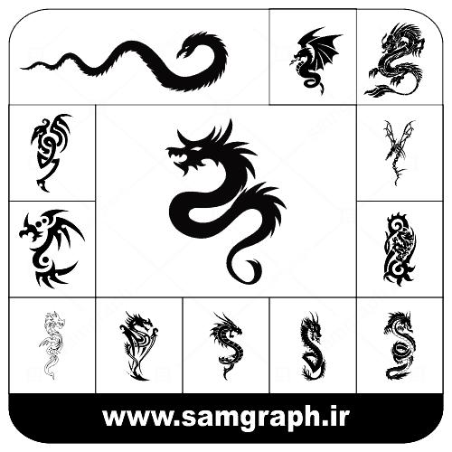 دانلود طرح سیاه و سفید وکتور مجموعه دراگون -اژدها با کیفیت تتو و خالکوبی - dragon -vector -colection-tatoo-black white part 5