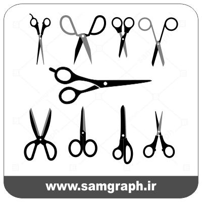 دانلود طرح وکتور قیچی آرایشگاه - Download Hairdressing Scissors Vector part2