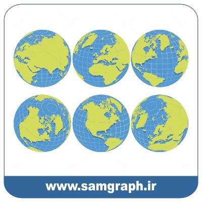 وکتور کره زمین از زوایای مختلف قاره ها - vector Earth