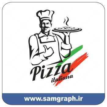 دانلود وکتور آشپز پیتزا ایتالیایی - Download Vector Italian Pizza Chef