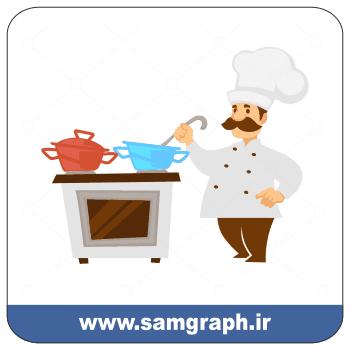 دانلود وکتور سر آشپز - Download Vector Chef