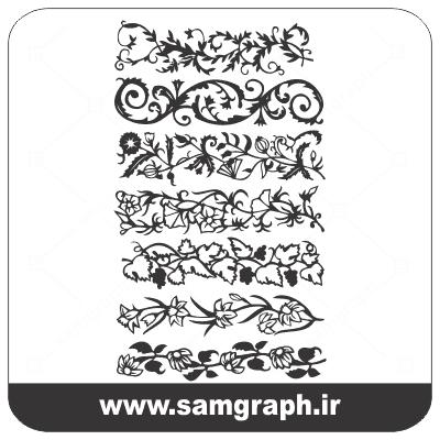 انلود وکتور کادر و حاشیه گل و بوته اسلیمی 2