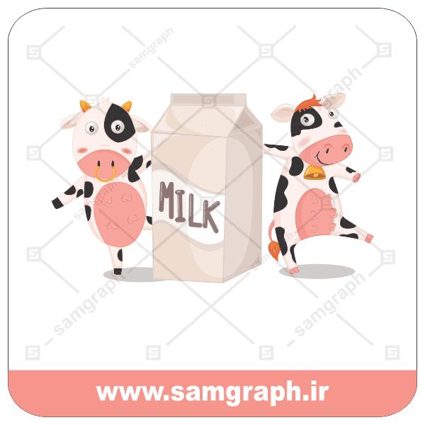 وکتور شیر گاو - milk - cow - گاو کارتونی