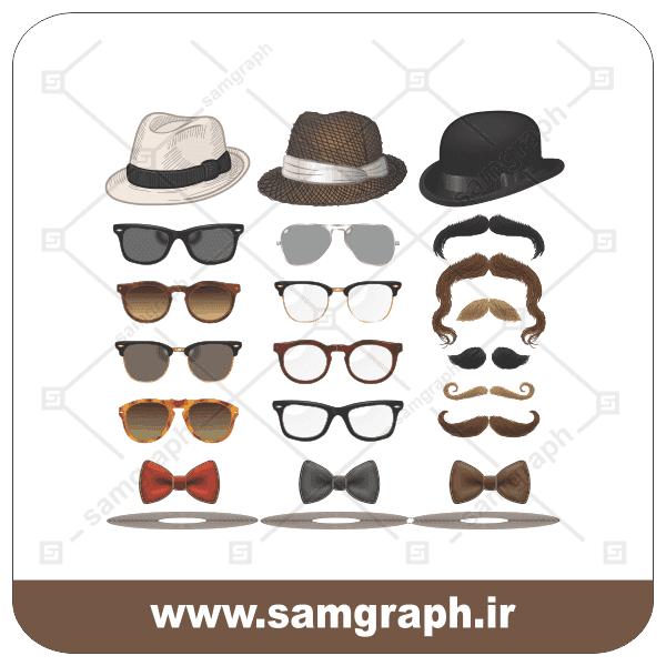 وکتور لوگو و آرم چهره-کلاه عینک ریش سیبیل-طراحی و تشخیص چهره