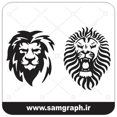 وکتور لوگو شیر جنگل - یال - forest lion