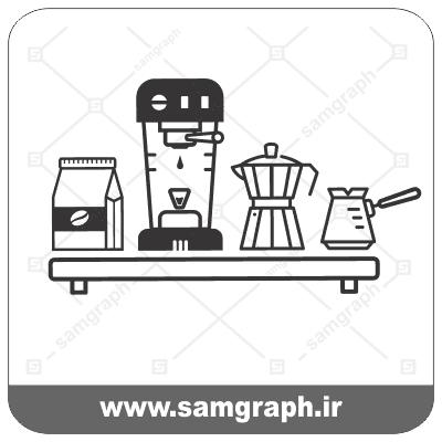 وکتور لوگو و آرم قهوه شیر قهوه ساب قهوه ساز-coffee