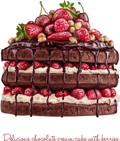 cake shoklati shatoti fandogh shirini foroshi vector 1