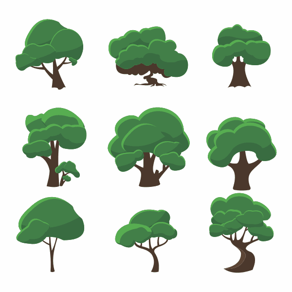 derakht Tree barg va tane shakhe vector file 1