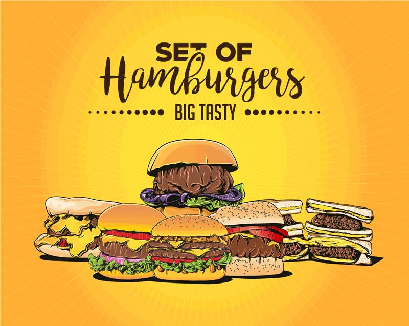 hamburgers dsigen fast food baner gosht vector 1