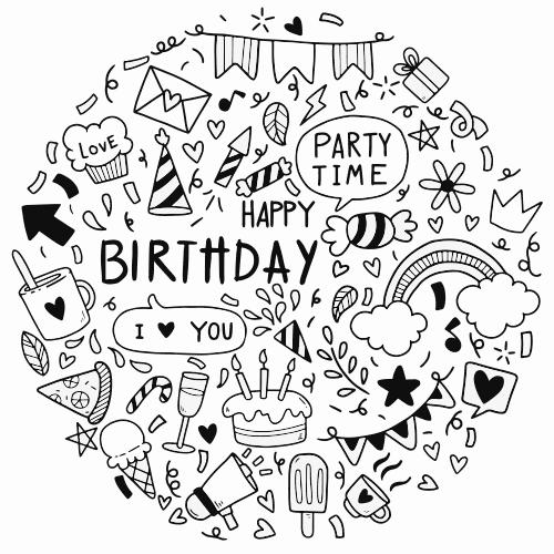 happy birthday greeting card fantezi party vector fun file7a 1
