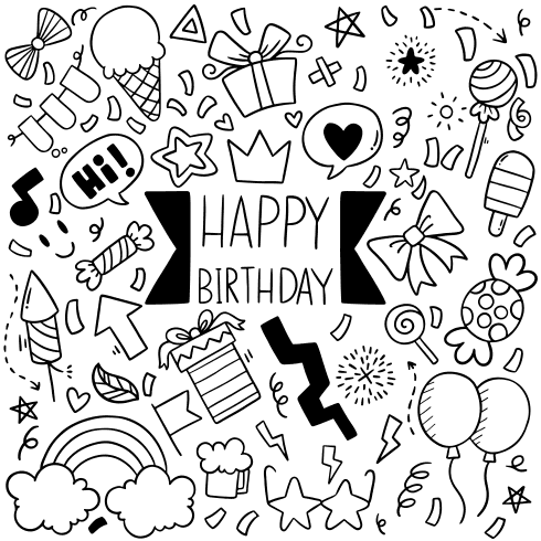 happy birthday greeting card fantezi party vector shokolat bastani cake roman fun file5 1