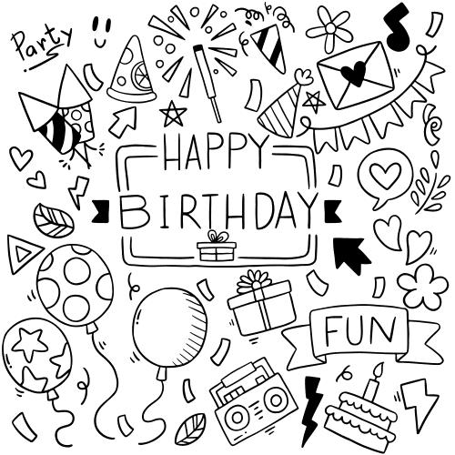 happy birthday greeting card fantezi party vector shokolat bastani cake roman fun file6 1