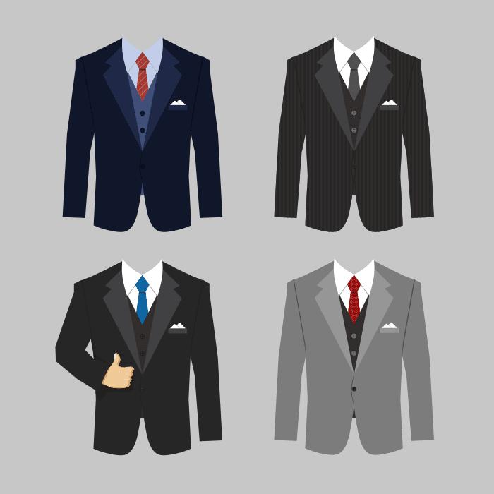 kot set different colors business clothing suits vector 1