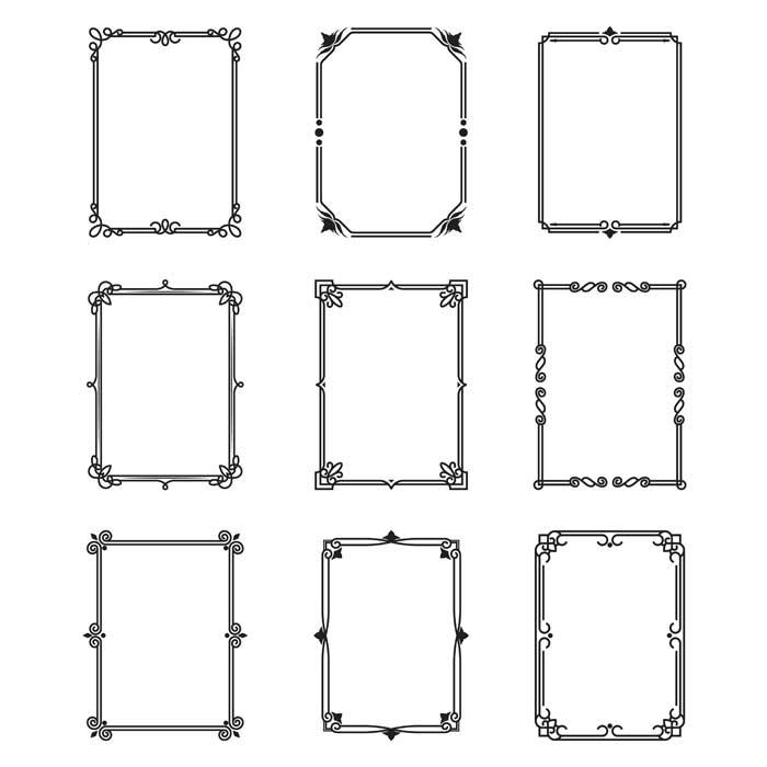 calligraphic ornamental frames set 1