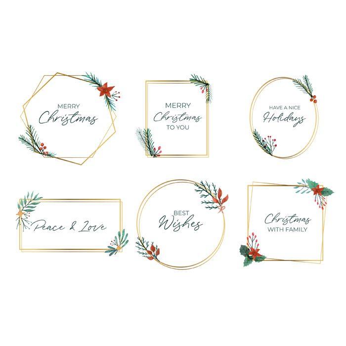 collection of elegant golden christmas frames 1