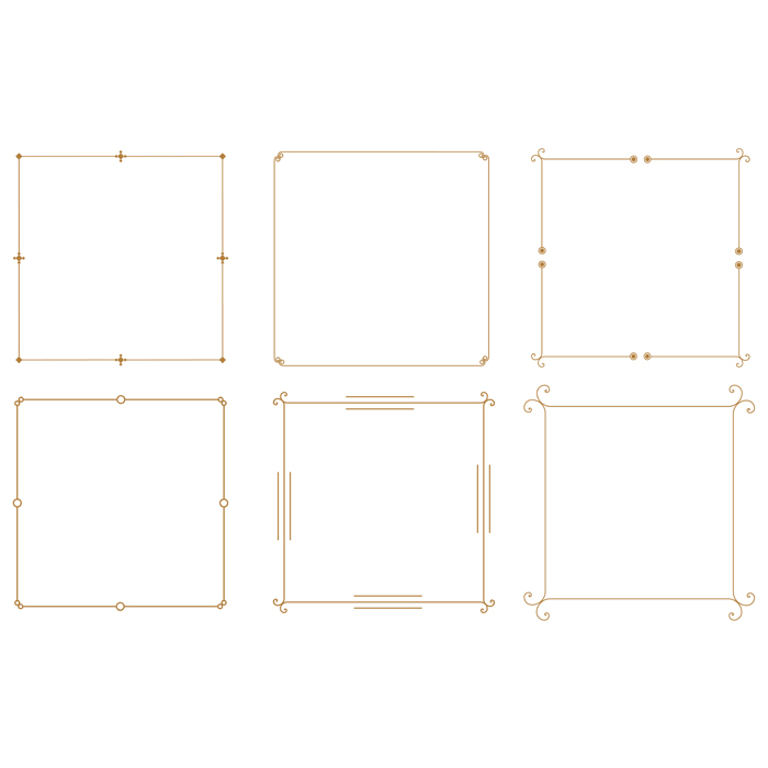 elegant decorative vintage frame borders set of six 1