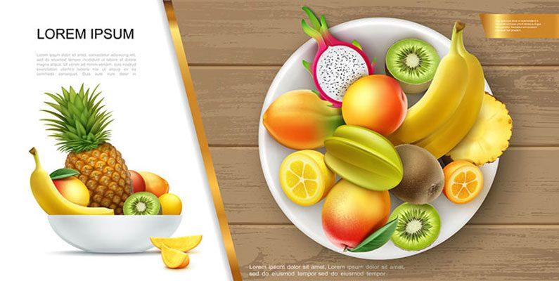 طرح وکتور بشقاب میوه های تابستانی - موز کیوی انبه آناناس کامکوات کارامبولا