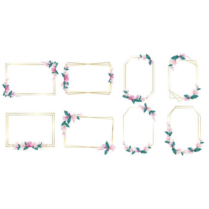 set watercolor flower frame wedding monogram logo branding logo design 1