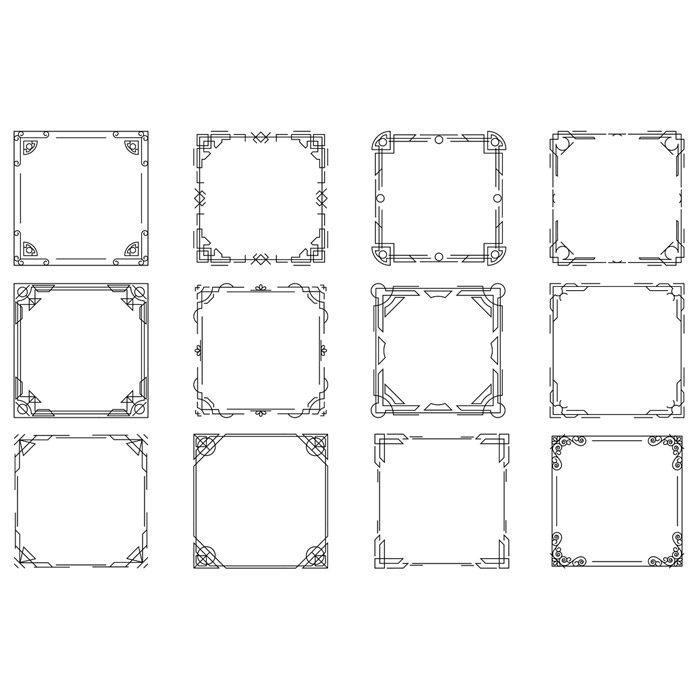 thin line geometric frames linear frames 1