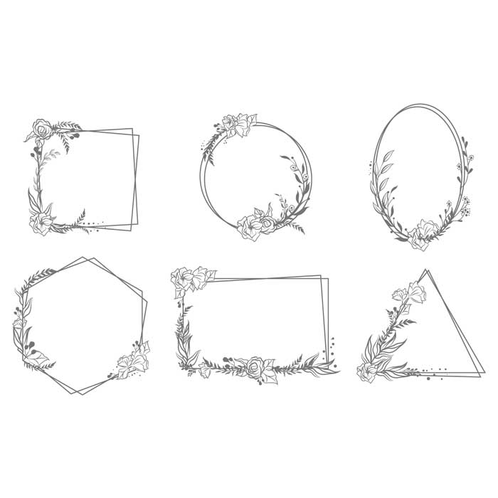 various hand drawn floral geometric frames set 1