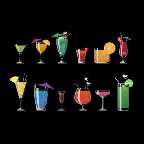 alcohol drinks beach cocktails isolated black background alcohol cocktail with ice illu 1