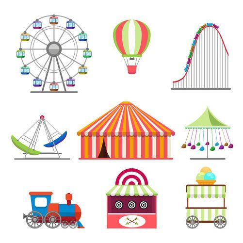 amusement park icons set flat design style 1