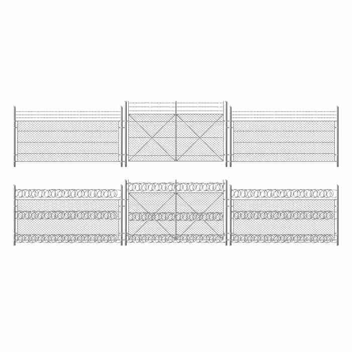 barb wire fence grid with gate three segments silver colored fencing perimeter protection barrier separated with metal steel poles 1