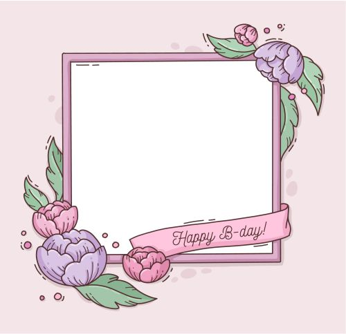 birthday frame with flowers 2