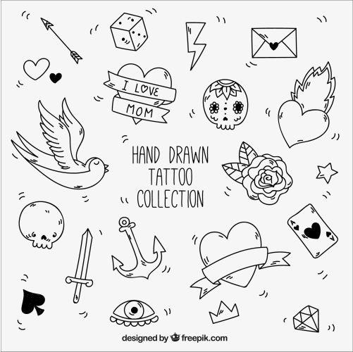 black white elements vintage tattoos 1