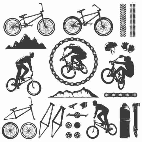 bmx decorative graphic icons set 1