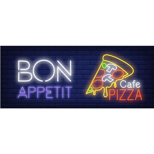 bon appetite cafe pizza neon sign pizza slice with melted cheese dark blue brick wall 1
