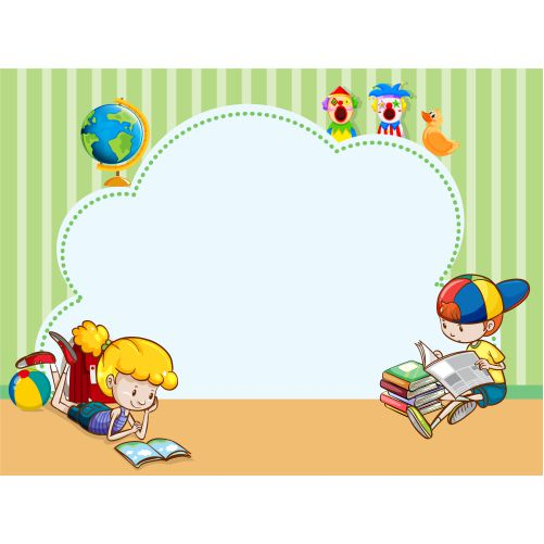 border template with kids reading books 1