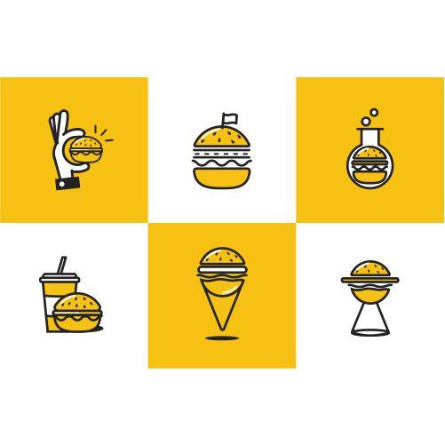 burger line art icon set 1