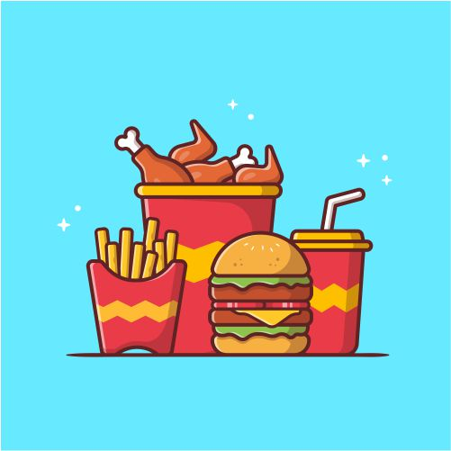 burger with fried chicken french fries soda cartoon vector icon illustration fast food icon 1