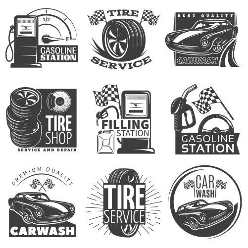 car service black emblem set with descriptions tire service car wash gas station vector illustration 1
