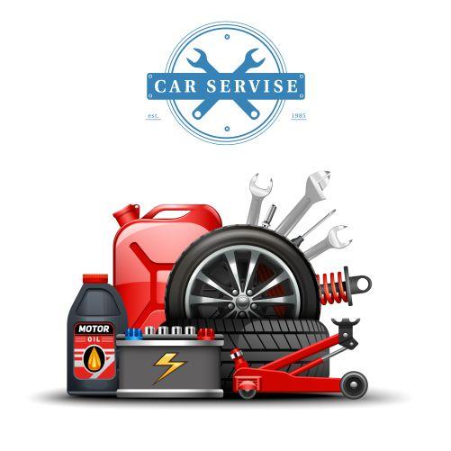 car service center accessories composition 1