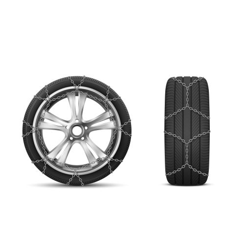 car tires with snow chains winter road 1
