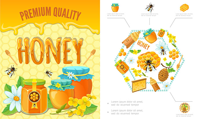 cartoon beekeeping colorful composition with bees honeycomb hive clipper stick 1