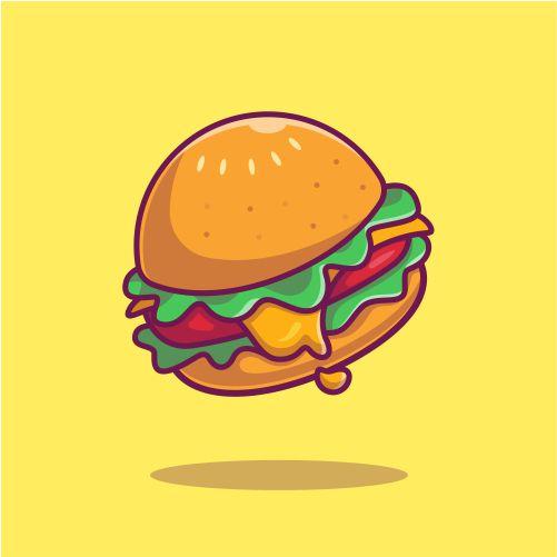 cheese burger cartoon icon illustration 1