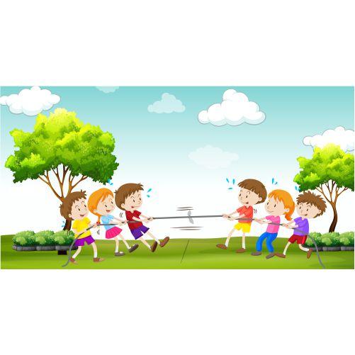 children play tug war park 1