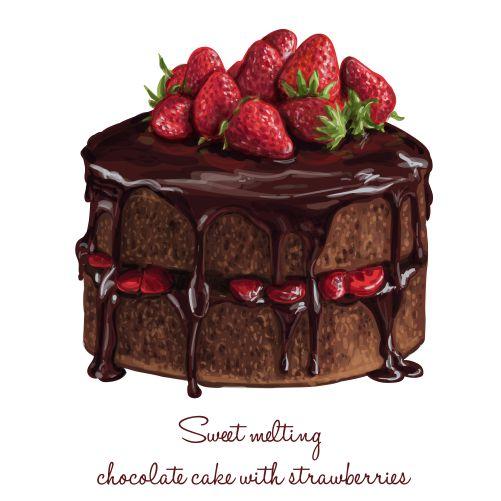 chocolate cake with strawberries 1