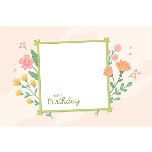 colorful flowers birthday frame 1