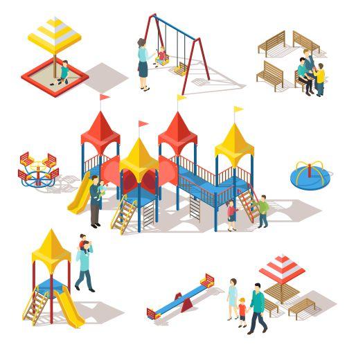 colorful isometric playground elements set 1