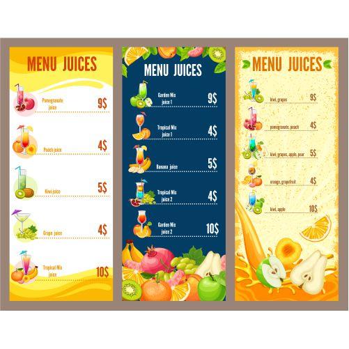 colorful natural juices menu template 1
